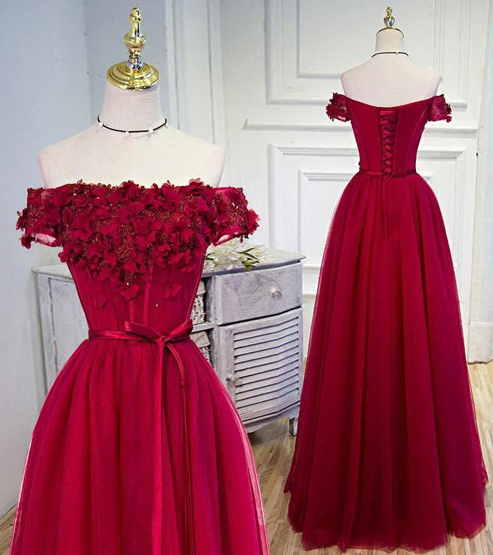 A-line Tulle Burgundy Short Sleeve Off-the-Shoulder Scoop Hand-Made Flower Prom Dresses JS776