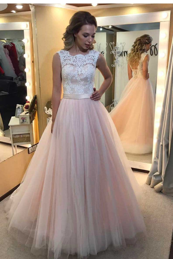 A-Line Light Pink Tulle with White Lace Appliqued Open Back Floor-Length Prom Dresses JS547