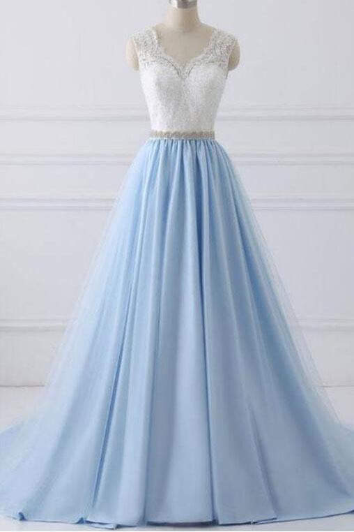 A-Line Lace Open Back V-Neck with Sash Blue and White Cap Sleeve Prom Dresses UK JS432