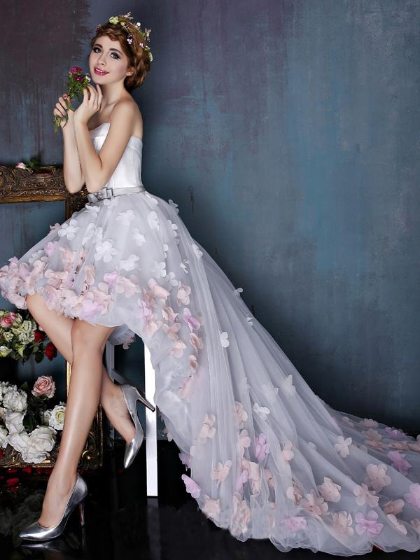 Charming Sweetheart Flowers Strapless Tulle Asymmetry Prom Dresses Wedding Dresses JS259