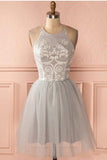 Cheap Sleeve Silver Halter Short A-line Princess Pleated Backless Homecoming Dresses JS789