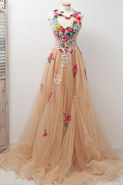 A-Line High Neck Round Neck Tulle Applique Open Back Long with Flowers Prom Dresses JS494