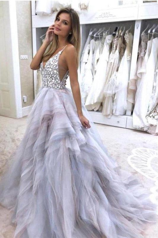 A Line Spaghetti Straps V Neck Silver Tulle Long Wedding Dresses with Rhinestones PW281