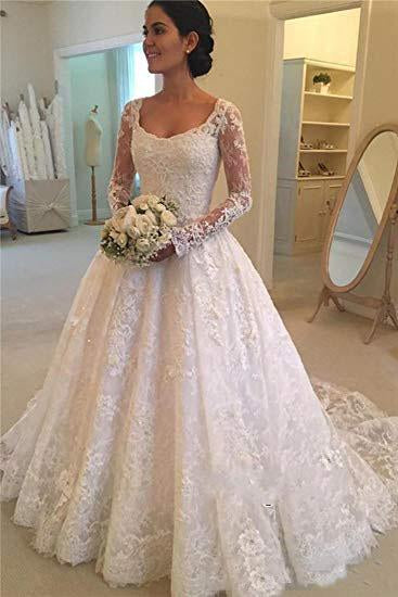A Line Lace Applique Long Sleeve Sweetheart Covered Button Wedding Dresses JS331