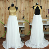 A Line Gliiter Rose Gold Sequins White Chiffon Long Bridesmaid Dresses Prom Dress