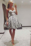 Cute A Line Sweetheart Strapless Open Back Grey Lace Short Homecoming Dresses JS947
