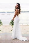 Sexy Lace Mermaid Spaghetti Straps V Neck Backless Beach Wedding Dresses uk PW236