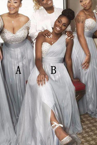 A Line Sweetheart Grey Beading One Shoulder Bridesmaid Dresses JS282