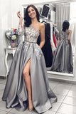 A Line One Long Sleeve Satin Gray Lace Formal Dresses, Side Slit Prom Dresses uk PW306