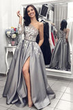 A Line One Long Sleeve Satin Gray Lace Formal Dresses Side Slit Prom Dresses JS306