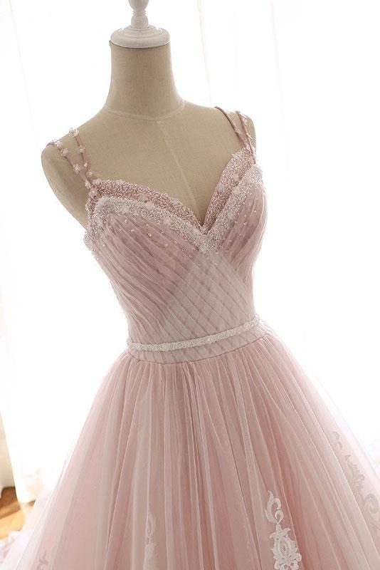 Unique A Line Pink Sweetheart Tulle Spaghetti Straps Long Lace Wedding Dress
