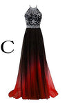 Elegant A-Line Halter Gradient Chiffon Long Ombre Beads Lace up Prom Dresses UK JS363