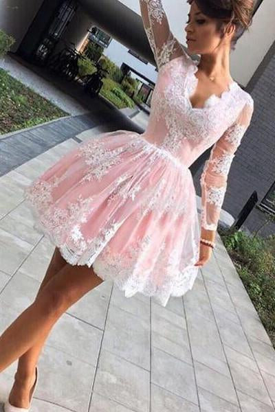 Cute A-line Long Sleeves Pink Short Lace Appliques V-Neck Homecoming Dress JS45