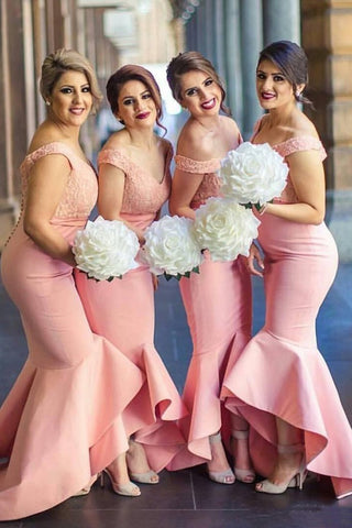 Baby Pink Mermaid Off the Shoulder Hi-Low with Ruffles Sweetheart Lace Top Bridesmaid Dress JS468