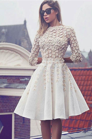 Glamorous Lace Short Flowers A-Line 3/4 Sleeves Hoco Knee-Length Homecoming Dresses JS301