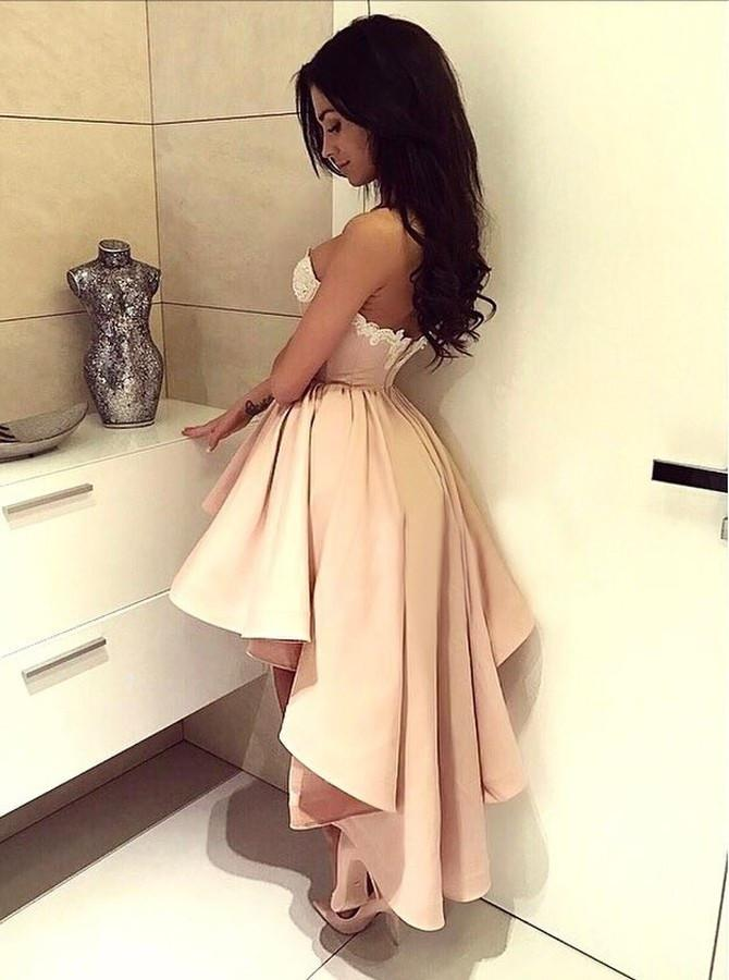 A-Line Sweetheart High Low Pink Stretch Satin Homecoming Dress with Appliques JS121