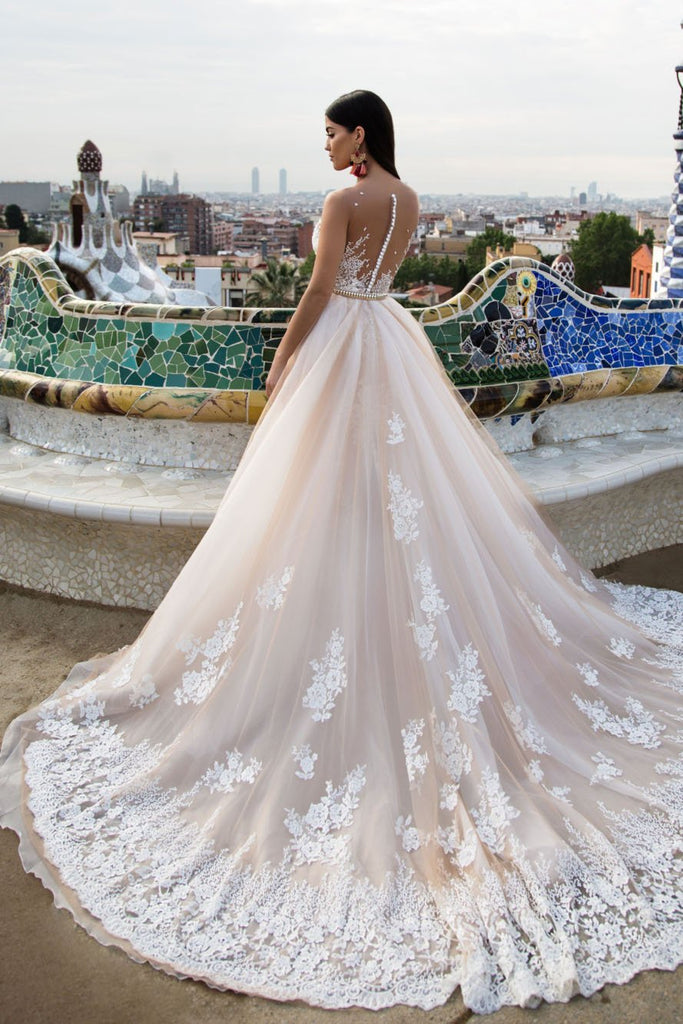Mermaid Lace Elegant Modest Wedding Dresses