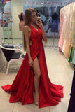 A Line Red Sleeveless V Neck with Side Split Floor Length Open Back Satin Prom Dresses JS52