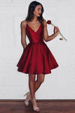 A-Line Spaghetti Straps Short V-Neck Dark Red Satin Homecoming Dress with Pockets JS593