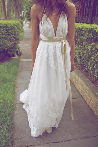 2020 New Style Deep V-Neck A-Line Sleeveless White Open Back Sexy Ivory Lace Wedding Dress JS862