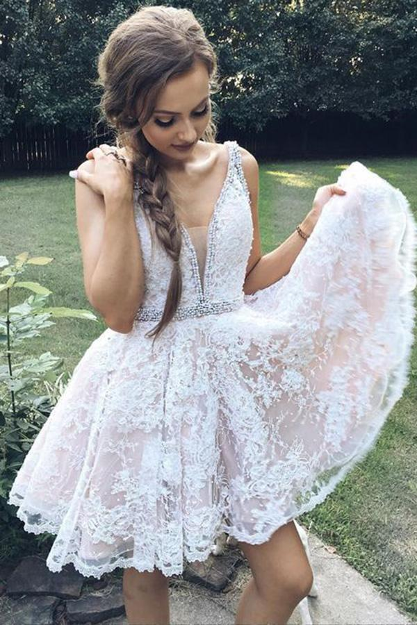 A Line Deep V-Neck Ivory Lace Beads Pink Satin Sleeveless Homecoming Dresses JS679