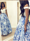 A Line Two Pieces Floral Off the Shoulder V Neck White Long Floor Length Prom Dresses JS771