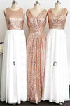 A Line Gliiter Rose Gold Sequins White Chiffon Long Bridesmaid Dresses Prom Dress JS583