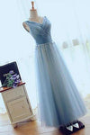A-line V-neck Floor-length Tulle with Beading Prom Dresses Evening Dresses JS550