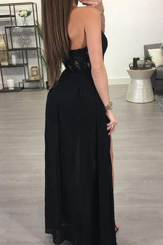 A-line Halter See-through Black Floor Length Appliqued Chiffon Sexy Long Prom Dresses uk