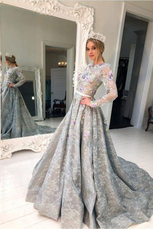 A Line Long Sleeve High Neck Beads Grey Beads Flowers Party Dresses Prom Dresses JS313