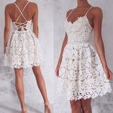 A-Line Spaghetti Straps Lace up Ivory Lace Short Sleeveless Sweet 16 Cocktail Dress JS744
