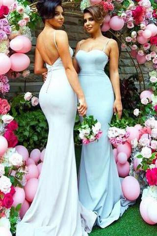 Sweetheart Sweep Train Open Back Mermaid Spaghetti Straps Bridesmaid Dresses