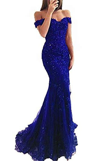 Blue Off the Shoulder Long Lace Appliques Mermaid Beads Prom Dresses, Evening Dresses PW335
