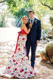 Elegant Two Pieces Mermaid Red Floral Bowknot Sweetheart Spaghetti Straps Prom Dresses PW267
