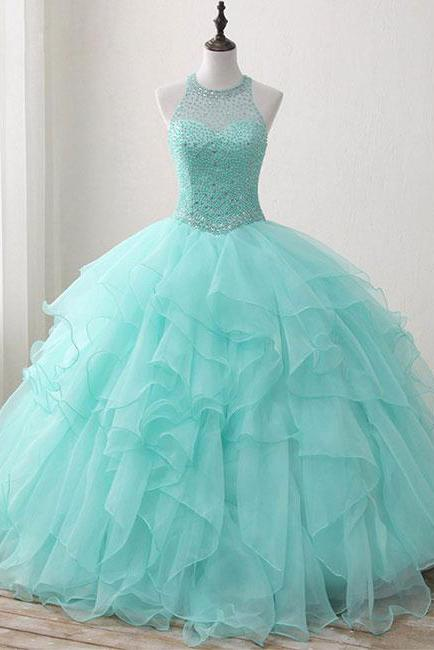 Ball Gown Long Green Sleeveless Open Back Lace up Beads High Neck Prom Dresses JS422