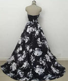 Cute Black and White Floral Satin Halter Vintage Print A-Line High Waisted Prom Dresses JS842