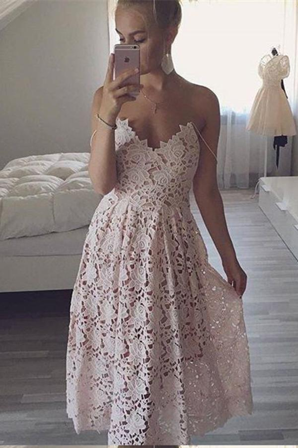 A-Line Spaghetti Straps Sweetheart Tea Length Mint Lace Homecoming Dresses JS803
