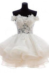 Cute A-line Off-the-shoulder White Mini Homecoming Prom Dress JS458
