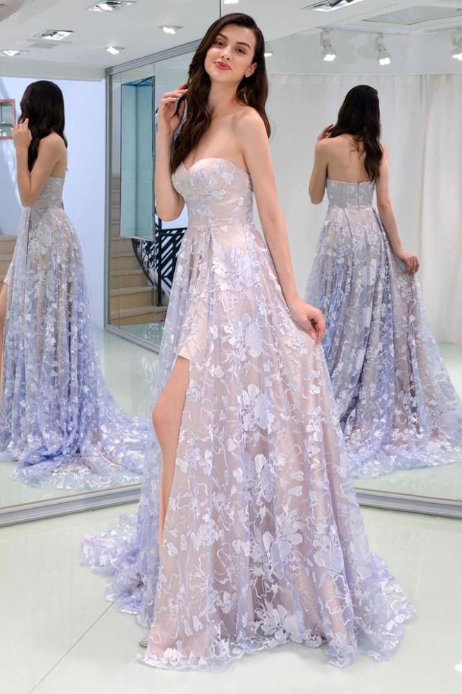 A line Lace Slit Sleeveless Floor Length Long Prom Dresses