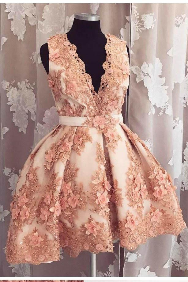 Cute A-line Deep-V Neck Lace Appliqued Short Prom Dress Beads Homecoming Dresses JS617