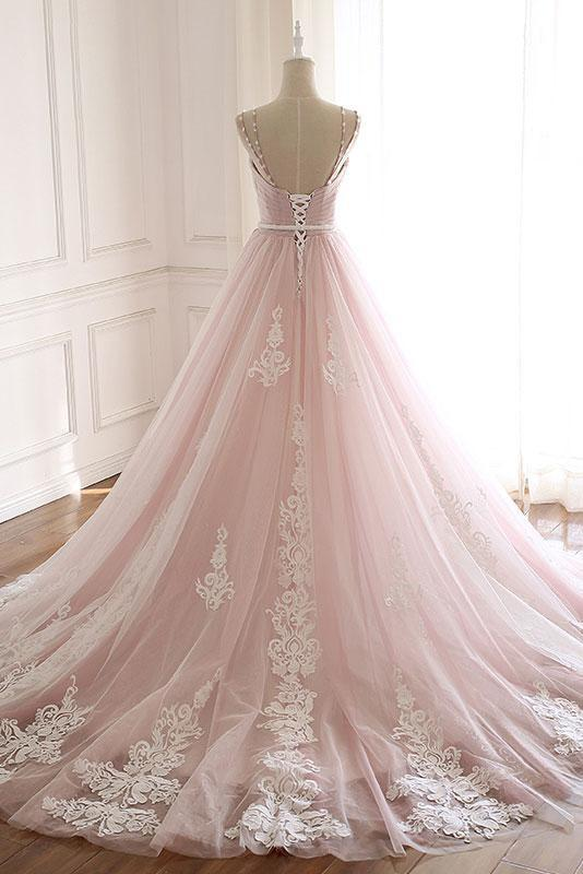 Unique A Line Pink Sweetheart Tulle Spaghetti Straps Long Lace Prom Dresses JS219