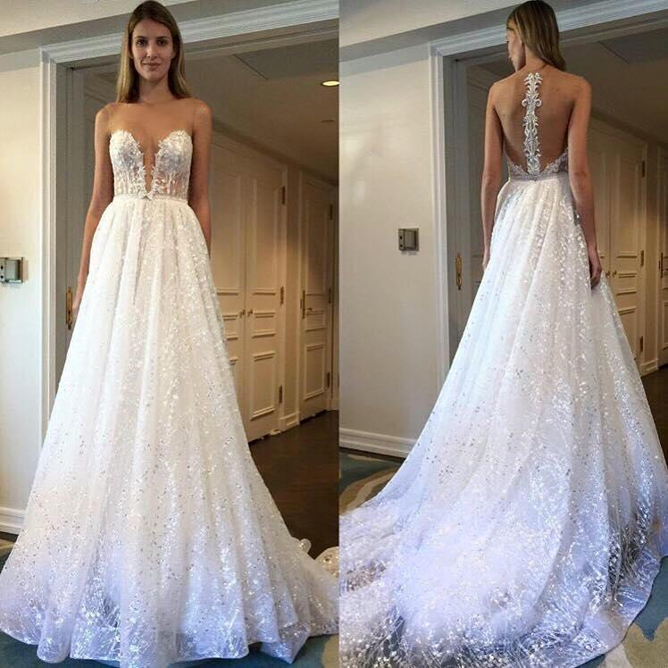 A Line Scoop Sleeve Ivory Sequins Sweep Train Wedding Dresses Wedding Gowns JS984