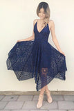 Deep V-neck Spaghetti Straps Sleeveless Asymmetry Lace A-line Bridesmaid Dress