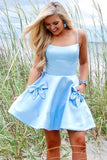 A Line Spaghetti Straps Satin Bateau Above Knee Homecoming Dresses Blue Cocktail Dresses H1276