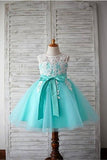 Blue Ball Gown Scoop Sleeveless Bowknot Floor-Length Tulle Appliques Flower Girl Dresses GD00008