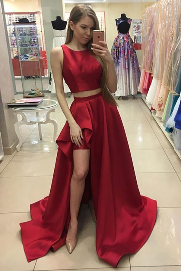 A Line Red Two Piece Satin Scoop Neck A-line Sweep Train Split Front Prom Dresses JS623