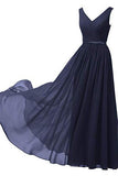 A Line V Neck Chiffon Navy Blue Long Sleeveless Ruffles Floor Length Prom Dresses uk PW337