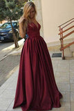 Burgundy Simple A-Line Satin V-Neck Spaghetti Straps Long Floor Length Evening Dresses UK JS285