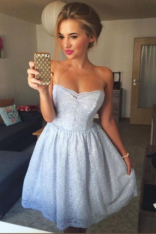 A-Line Sweetheart Knee Length Strapless Sleeveless Blue Lace Homecoming Dress JS802