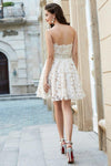 A-Line Princess Sweetheart Sleeveless Rhinestone Short Mini Lace Homecoming Dresses JS574